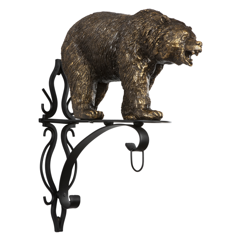 Кронштейн для цветов Медведь Велес Бронза