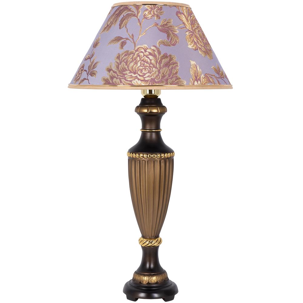 Настольная лампа Ваза Ребристая Бронза Маргарита Лаванда