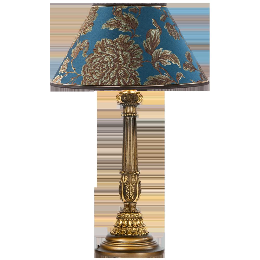 Настольная лампа Колонна Испанская Бронза Маргарита Голубая Лагуна
