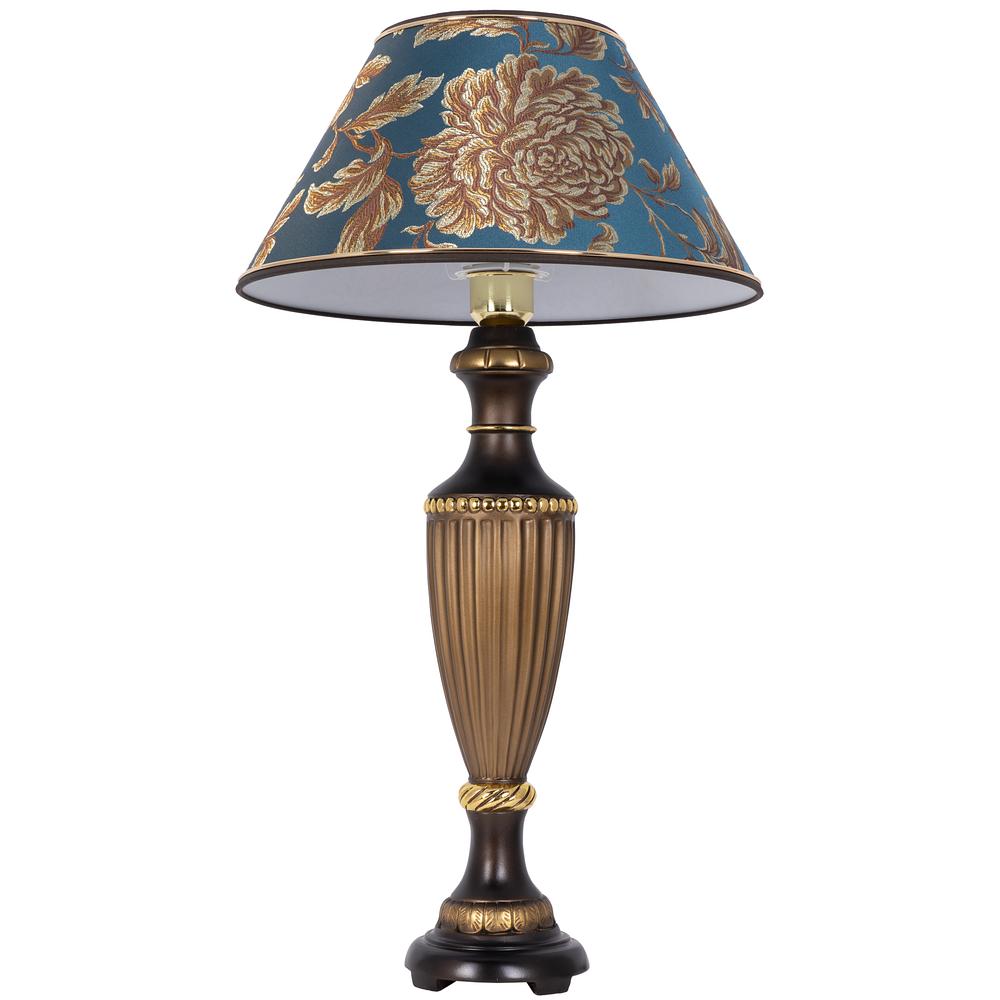 Настольная лампа Ваза Ребристая Бронза Маргарита Голубая Лагуна