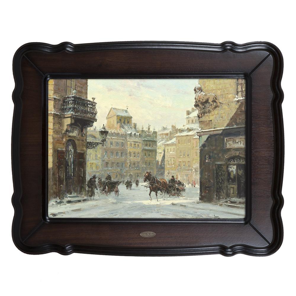 Картина Зима, городской пейзаж с конными экипажами