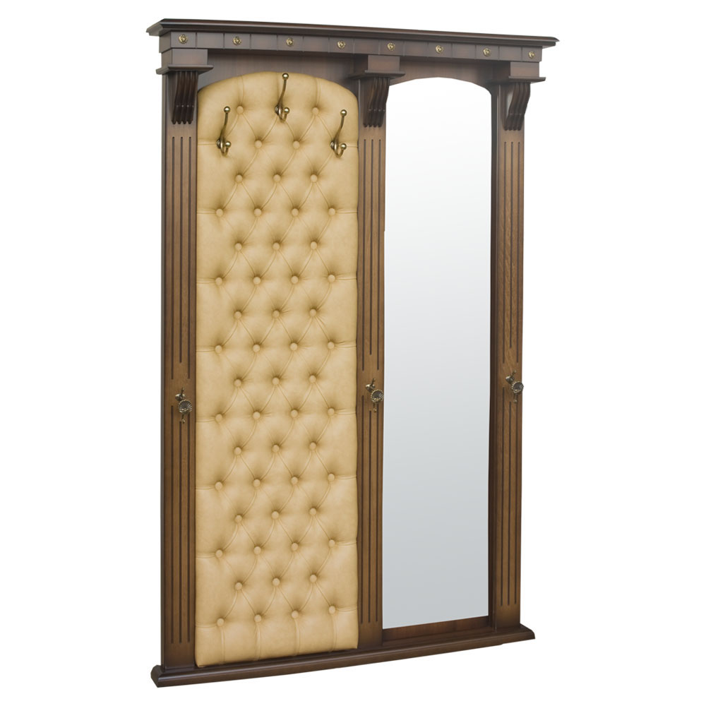 Настенная прихожая с зеркалом Тауэр 7 Орех Песочный