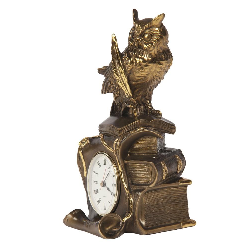 Часы настольные Ученый филин Бронза