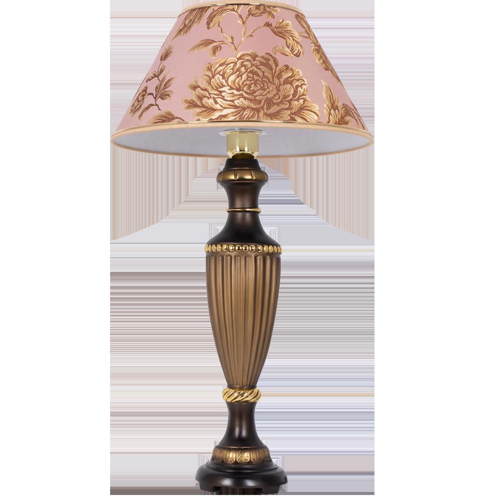 Настольная лампа Ваза Ребристая Бронза Маргарита Персик