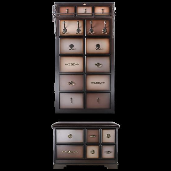 Настенная прихожая с ящиком Пандора 3 Шоколад