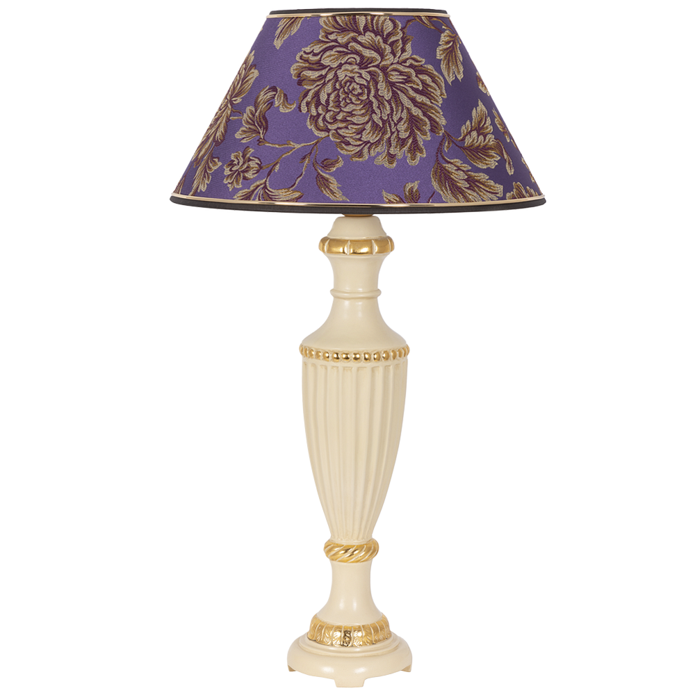 Настольная лампа Ваза Ребристая Айвори Маргарита Фиолет