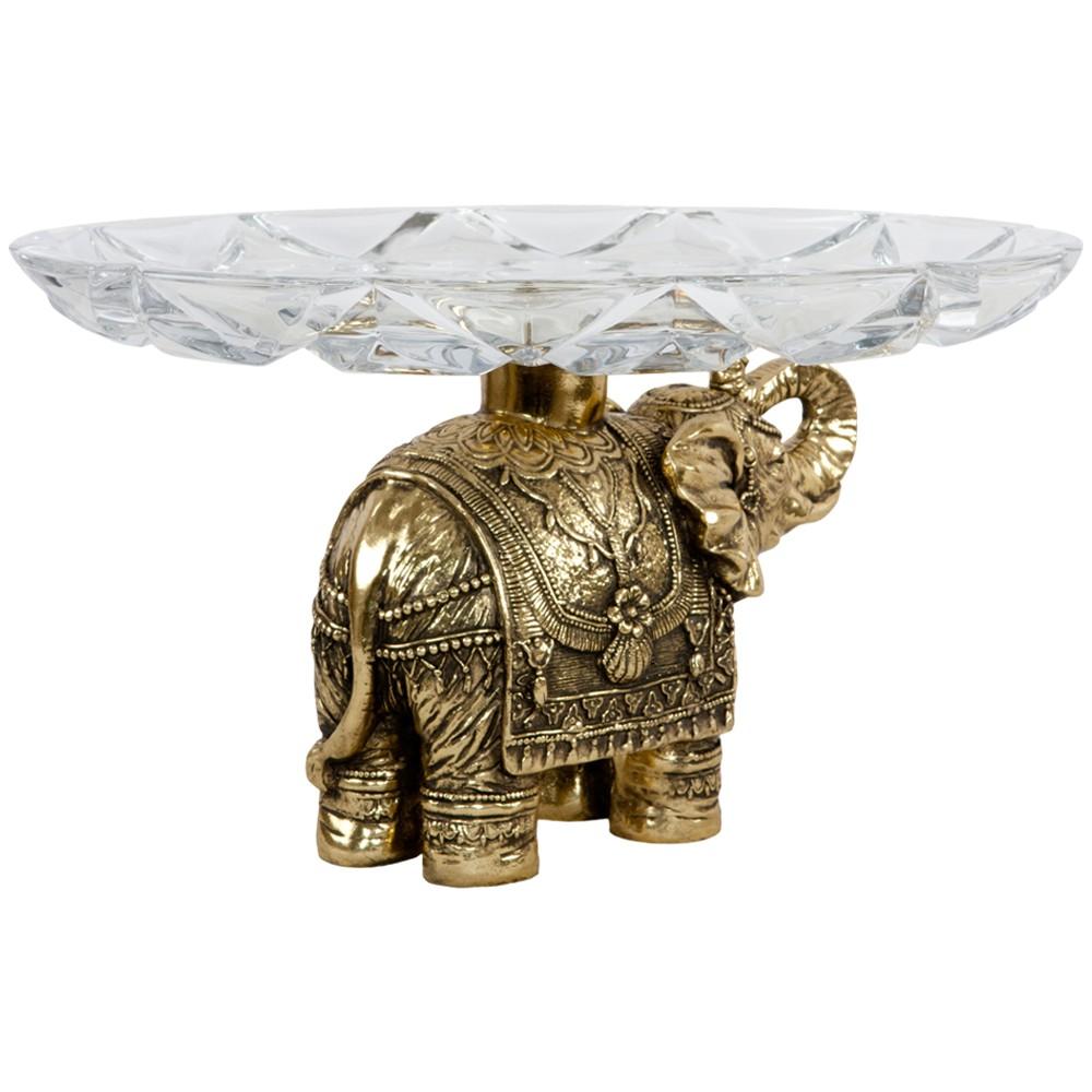 Фруктовница-конфетница Слон индийский 4 Бронза