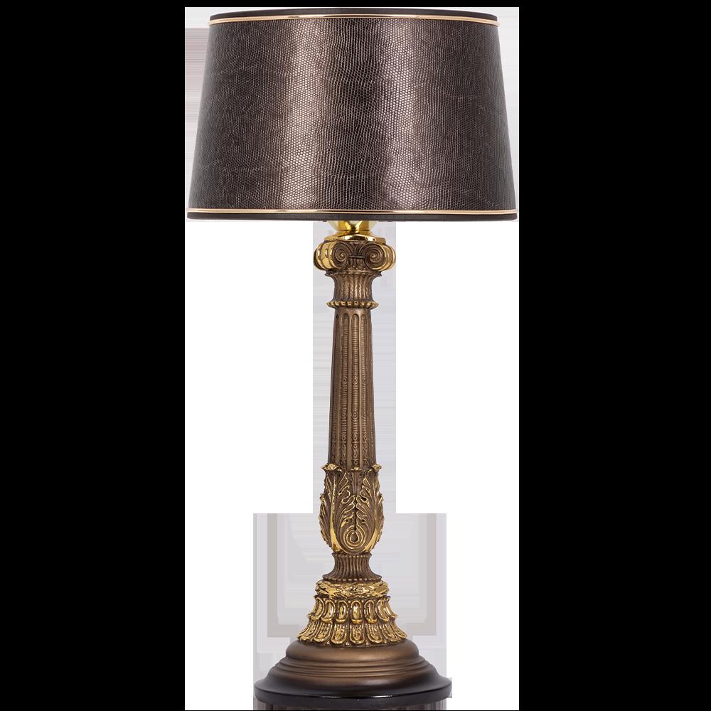 Настольная лампа Колонна Испанская Бронза Тюссо Игуана Шоколад